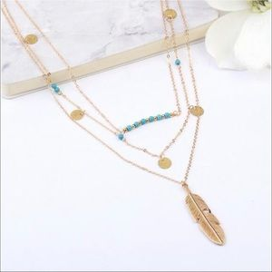 Jewelry - Multilayer gold and turquoise boho necklace